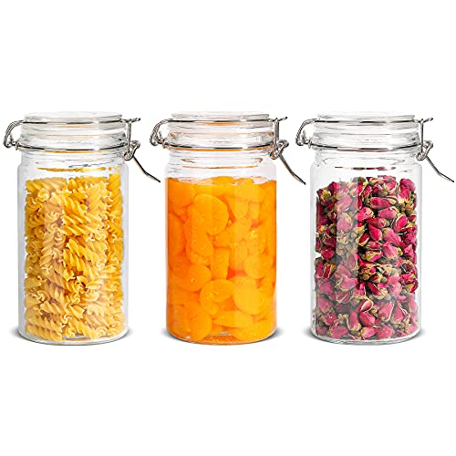 ComSaf Airtight Glass Canister with Lid Set of 3, 1200ml Food Storage Jar, Storage Container with Seal Wire Clamp Fastening for Kitchen Fermenting Preserving Canning Pasta Flour Cereal