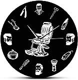 Relojes De Pared Signo De Peluquería, Silla De Peluquero, Reloj De Pared, Peluquería, Estilista, E Pment, Corte De Pelo Para Hombres, Barbería, Reloj De Pared Negro Retro, Barrido Silencioso