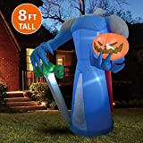Joiedomi Halloween 8 FT Inflatable Pumpkin Knight with Build-in LEDs Blow Up Inflatables for Halloween Party Indoor, Outdoor, Yard, Garden, Lawn Decorations