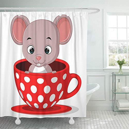 lovedomi Duschvorhang Tier weiße Mäuse von niedlichen Cartoon-Maus in Tasse Duschvorhang-Sets mit 12 Haken 72x72 Zoll wasserdichtes Polyestergewebe Badezimmer-Set