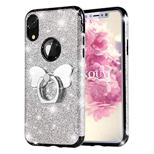 KOUYI Funda iPhone XR, [Duro PC + TPU Suave Interior Combinadas Híbrida Bling Sparkly Cuero Sintético] Bling Cubierta Creativo Funda Telefono Movil Carcasas para Apple iPhone XR 6.1 Pulgada (Plata)