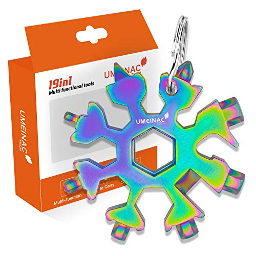 UMEINAC Snowflake Multitool,19-in-1 Gadgets, Bottle Opener/Wrench/Screwdriver/Survival Kit/Hand tools with Keychain,Tool Kit for All Occasions,Valentines Day Gifts for Him (Gift-Colourful)