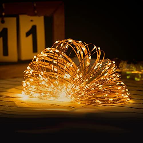 LIBILIS Luci Led USB 10M 100 LED Luci Albero di Natale Impermeabile Filo di Rame Luci Natale Fata per Interno Festival Matrimonio Festa Patio Decorativa Luci Stringa Giallo Caldo(Nessun telecomando)