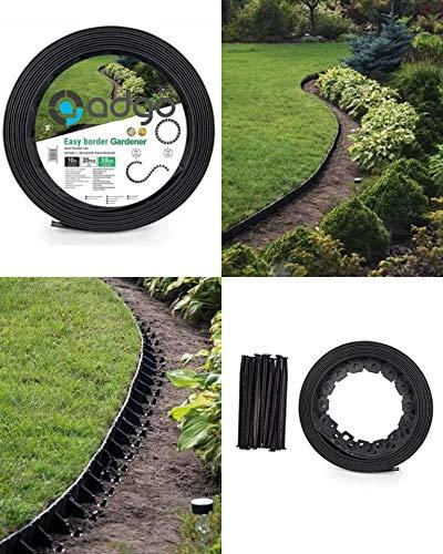 ADGO Flexible Gartenumrandung 10 m mit 20 Heringen Dunkelgraphit Kunststoff Garten Rasenkante Rasenkante Pflanzenbordüre Wege