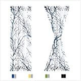 Fmfunctex Sidelight French Door Curtains 40' White, Grey and Blue Branch Tree Print Half French Door Panels for Front Doors Semi-Sheer 24' w x 2 Panels