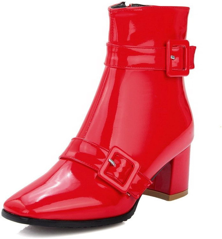 AllhqFashion Women's Chains Kitten-Heels PU Solid Low-top Boots