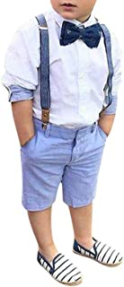 PAOLIAN Conjuntos de Niños Vestir Verano Primavera Ceremonia Esmoquin Blusas Pantalones TirantesBebe Niño Manga Larga Rop...