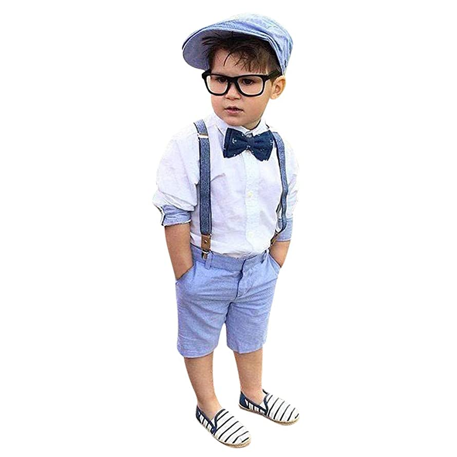 Tronet Baby Boys Clothes Sets Bow Ties Shirts +Suspenders Pants Toddler Boy Gentleman Outfits Suits