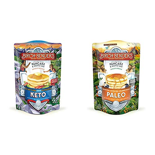 Birch Benders Keto Pancake & Waffle Mix, Low-Carb, High Protein, 16 Ounce (Pack of 1) & Paleo Pancake & Waffle Mix by Birch Benders, Low-Carb, High Protein, High Fiber, 12 oz