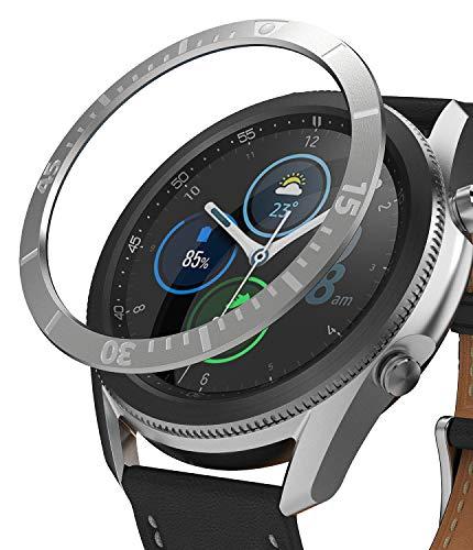 Ringke Bezel Styling für Galaxy Watch 3 45mm Hülle, Lünette Ring Kleber Abdeckung Kratzfest Edelstahl Schutz für Galaxy Watch3 Zubehör - Silver [45-02]