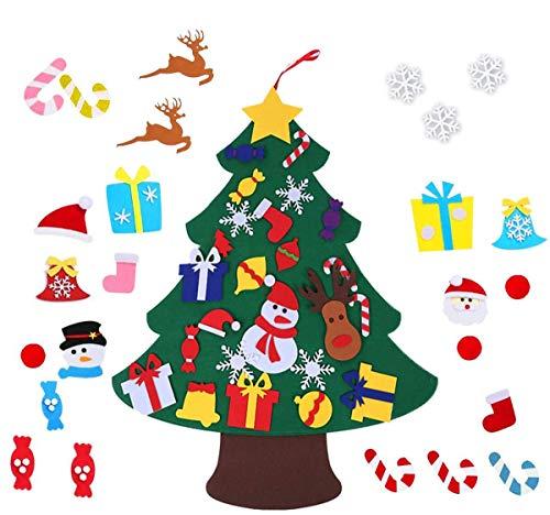 ZoneYan Filz Weihnachtsbaum, DIY Weihnachtsbaum Set Edition 26 Pcs Ornamente Wand Dekor Für Kinder Weihnachten Geschenk Home Tür Wand Dekoration