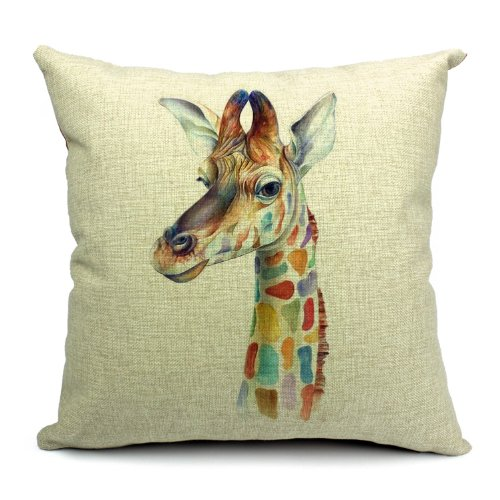 poens Dream cuscino – Wildlife Animals Printed Linen Cushion Cover giraffa