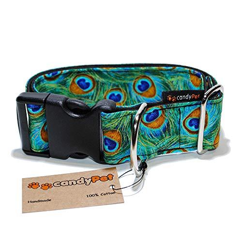 candyPet Halsband für Hunde aus Baumwolle – Hundehalsband – Handarbeit – extra breit – in 4 Größen – mit oder ohne Clickverschluss – leicht verstellbar -Peacock Click 4cm (30-55cm)