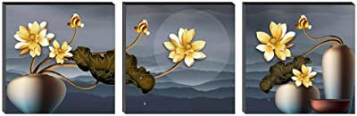 SAF Set of 3 Flower Pot UV Digital Reprint 12 inch x 36 inch Painting SANFSS37