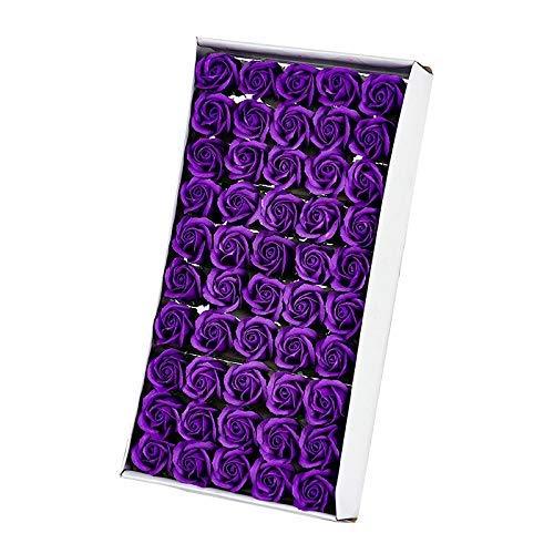 TOOGOO 50Pcs Floral Parfumée Savon De Bain Rose Pétales De Fleurs Plante Huile Essentielle Savon Ensemblede Bain en Forme Cadeaux De Fête De Mariag Cadeaux Pourpre Foncé