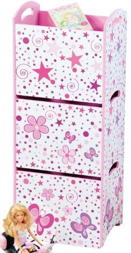 Kesper 88363 - Cajas apilables (3 Unidades, 34 x 25 x 31 cm), diseño de Flores, Color Rosa