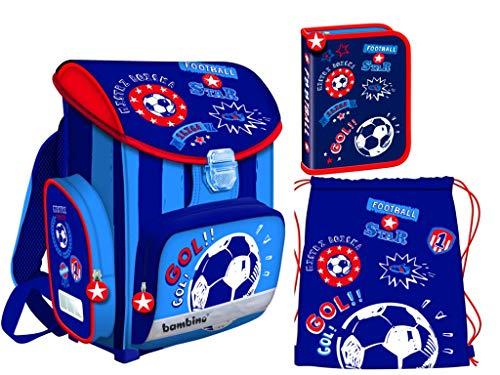 Bambino Schooltassen Schooltassenset 3-delig met etui, gymtas voor kinderen voetbal
