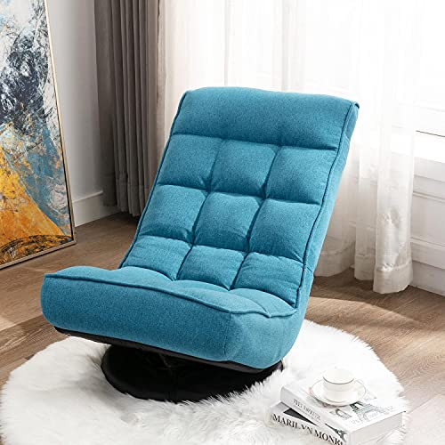 Altrobene Swivel Gaming Chair, Fabric Folding Floor Chair, Lazy Sofa Lounge Chair Rocker for Game Recreation Room, 5-Position Adjustable, Blue