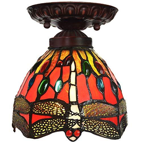 Candelabros de vidrio de techo retro 7 pulgadas estilo de Tiffany lámpara de techo rojo de la libélula Balcón lámpara del pasillo de la lámpara