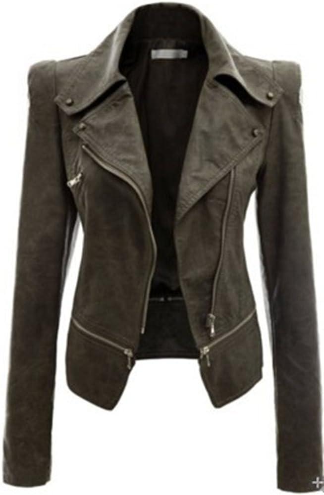 Kearia Womens Faux Leather Slim Fit Motorcycle Power Biker Jackets Coat