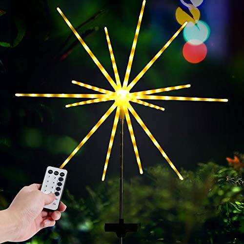 Solar Garden Lights Firework, Rilitor Firework Lights Solar Powered 112 LEDs with 8 Modes IP65 Waterproof String Light for Garden, Yard, Walkway, Patio, Indoor, Outdoor Decoration (1 Pack)