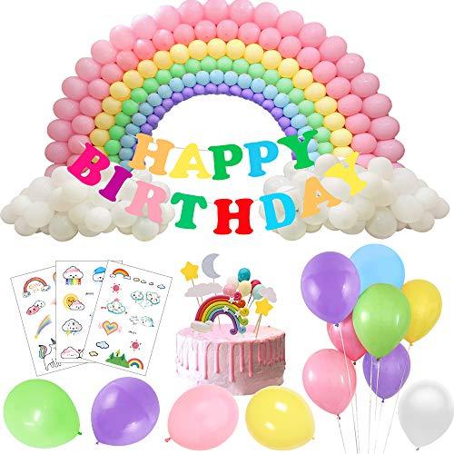 Regenbogen Geburtstagsfeier Dekorations Luftballons Girlande mit Regenbogen Kuchendeckel Aufklebern Temporäre Tätowierungen Buntes Glückliches Banner für Baby Verlobungs Brautparty Dekoration