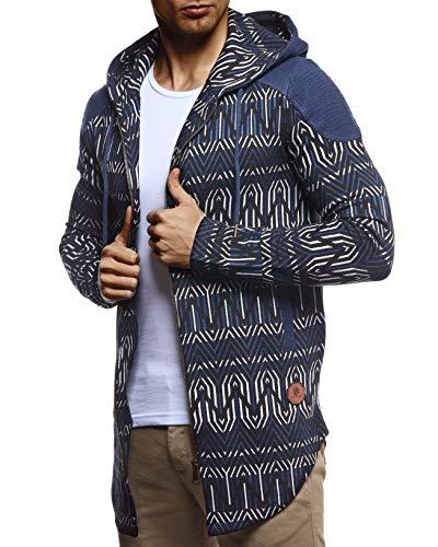 Leif Nelson Herren Sweatjacke Lange Freizeitjacke mit Kapuze Schwarze Übergangsjacke Basic Hoodie für Männer Kapuzenjacke Sweater Dunkel Blau Large
