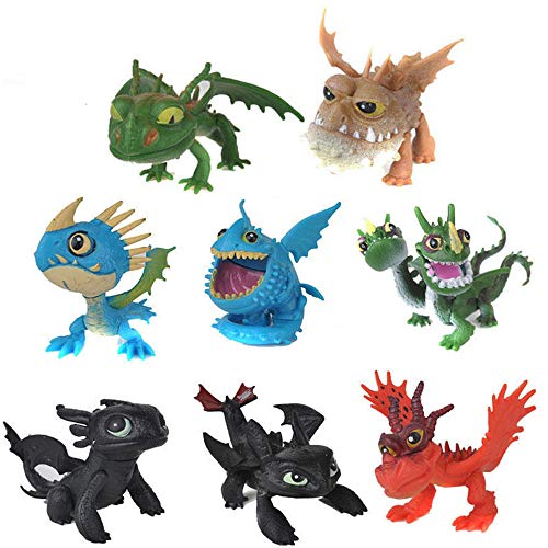 MINGZE 8 stücke Drachen Spielzeug, PVC Sortiert Wie Drachenzähmen 5 bis 7 cm Action-Figuren Night Fury Toothless Dragons Birthday Party Favor, Drachenzähmen leicht gemacht 3