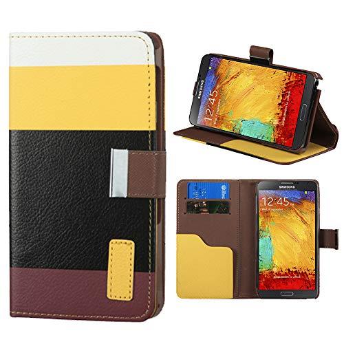 Roar Handyhülle für Sony Xperia Z3 Compact, Hülle Tasche Schutzhülle Klapphülle mit Magnetverschluss, Kartenfächer, Stand-Funktion - Gelb Schwarz Mokka