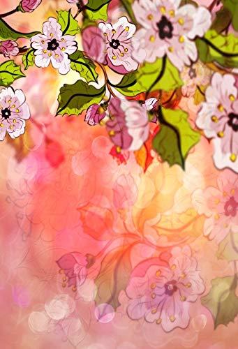 Fondos fotográficos de Retrato de bebé recién Nacido con pétalos de Flores de Primavera Rosadas para Estudio fotográfico A14 7x5ft / 2,1x1,5 m