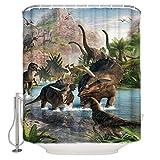 floolter Jurassic Dinosaur Ancient Dinosaur World Impermeable Cortina de Ducha Decoración de baño con 12 Ganchos 180 × 180Cm