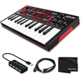 Akai Professional MPK Mini Play Compact Keyboard and Pad Controller Bundle with 4-Port USB 2.0 Hub with LED-lit Power switches and USB Ext Cable M-F