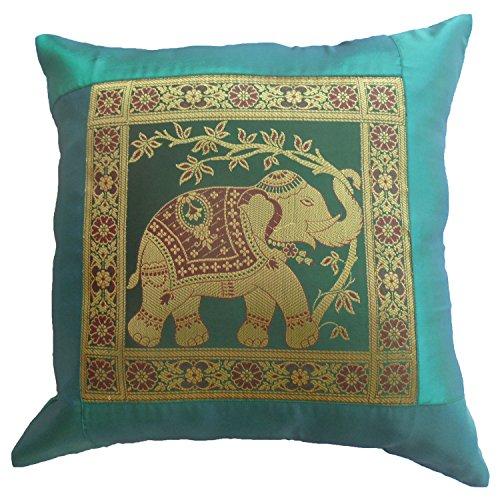Elefanten Blumen türkis Kissenbezug Kissenhülle Kissen 41,5 cm x 41,5 cm Thai Silk Sofa Couch