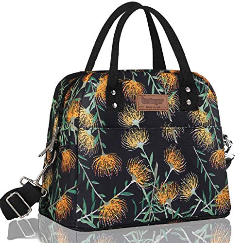 Buringer Large Insulated Lunch Bag Reusable Cooler Tote Box with Adjustable Shoulder Strap and Two Pockets For Woman Man Work Picnic or Travel (Yellow Flowers)