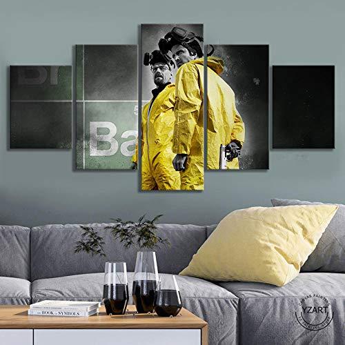 VENDISART,Impresiones sobre Lienzo,Modular Decoración De Pared Póster,5 Piezas Cuadro,Breaking Bad Season 3,con Marco,Talla:150 * 80Cm