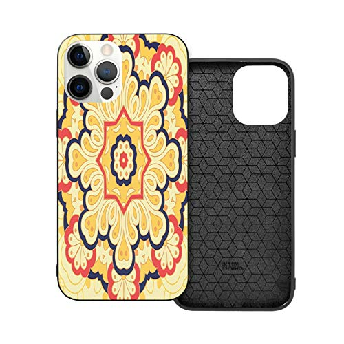 Iphone12 Series Case Printing - Yellow Mandala Arabesque Decorative Element Oriental Tradition Retro Fashion Yellow Pink Navy Blue