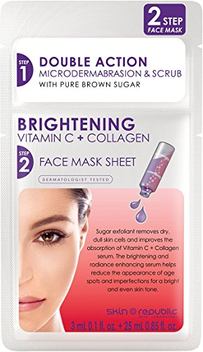 SKIN REPUBLIC 2 stap Brightening vitamine C + collageen gezichtsmasker 28 ml