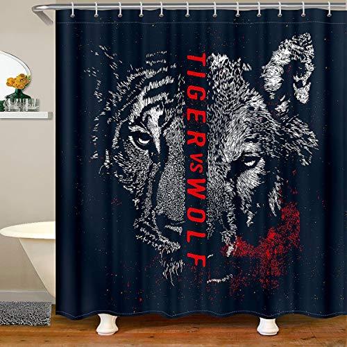 Loussiesd Cortina de baño de tigre con diseño de lobo, cortina de ducha para bañeras de baño, decoración de animales salvajes, estilo de vida salvaje, 180 x 200 cm