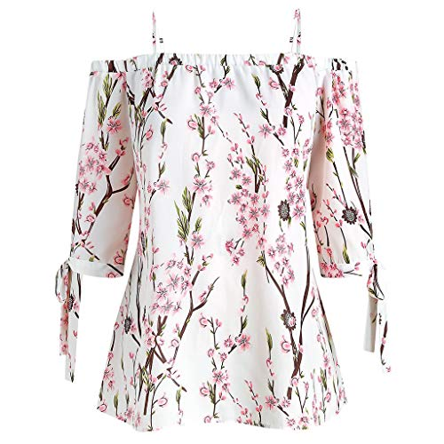Rifuli Damen Plus Size Cami Casual Chiffon Tank Top Blumendruck Cold Shoulder Bluse...