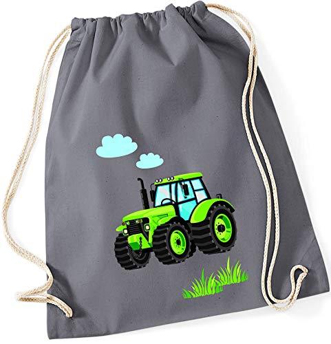 Stoffbeutel für Jungen   Motiv Traktor Bulldog mit Wolken & Gras   Schuhbeutel Sportbeutel zum Zuziehen für Kinder   Turnbeutel mit Kordel in blau grau grün (grau)