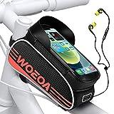 """Bolsa Bicicleta Manillar para Ciclista Ciclismo, WOEOA Bolsa Bici de Montaña con Soporte para Telefono Impermeables con Pantalla Táctil Enchufe para Auriculares para iPhone Samsung Note 4.5""""-6.7"""""""