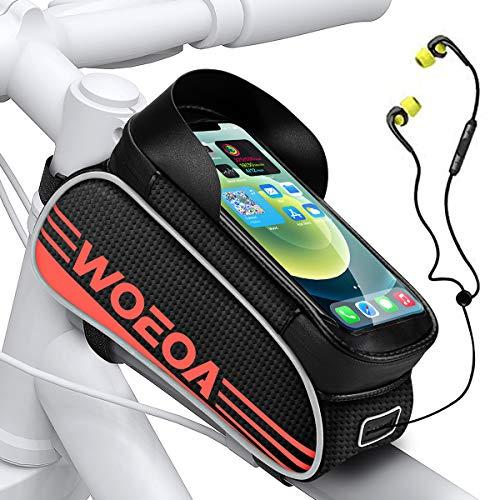 """WOEOA Borsa Telaio Bici, Porta Cellulare Bici Impermeabile Supporto Telefono Manubrio per Mountain Bike Touch Screen Buco per Auricolare Borse MTB per iPhone 11/ 11pro/ X/XR Samsung 4.5""""-6.7"""""""