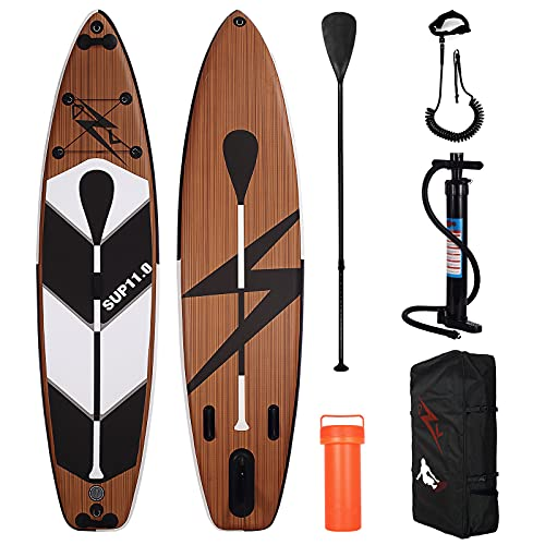 DZLONG Inflatable SUP Surfboard,Paddle Board Stand Up Paddling Set for Beginners,With Paddle,...