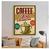 YXFAN Menú de café impresiones estilo pizarra cartel café pared arte lienzo pintura pared imagen cafetería decoración-20x28 en sin marco