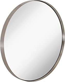 Hamilton Hills Contemporary Brushed Metal Silver Wall Mirror | Glass Panel Silver Framed Rounded Circle Deep Set Design (30