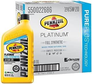 Pennzoil 550022686-6PK Platinum Full Synthetic 5W-20 Motor Oil -1 Quart (Pack of 6)