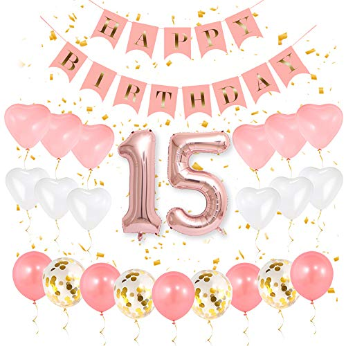 GIHOO 15th Birthday Decorations - 15th Birthday Party Supplies for Girls, 15 Number Balloon Rose Gold, Pink Happy Birthday Banner, Sweet Heart Latex Balloon and Gold Confetti Balloons (15)