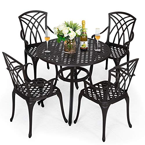 Nuu Garden 5-Piece Outdoor Furniture Dining Set, All-Weather Cast Aluminum Conversation Set Includes 4 Chairs and 1 Round Table with Umbrella Hole for Patio Garden Deck, Lattice Design-Antique Bronze