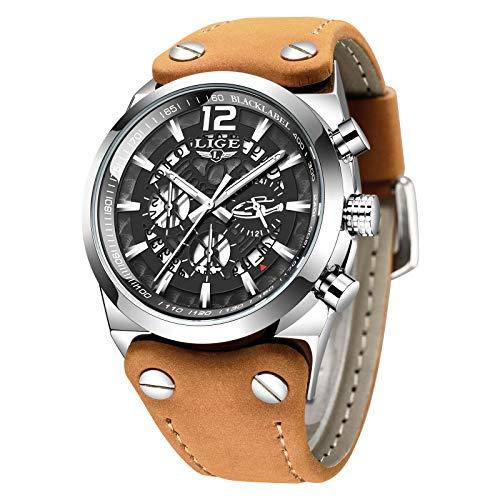 LIGE Uhr Herren Militär Chronograph Armbanduhr Sport Wasserdichtes braunes Lederarmband Schwarz Großes Zifferblatt Analoge Quarz Armbanduhr Manner