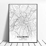 NOVELOVE Salzburg Stadt Österreich Karte Poster HD Drucke